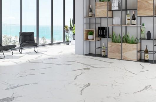 Lastra 5,5 mm di spessore in gres Effetto marmo Calacatta 1°scelta 60x120
