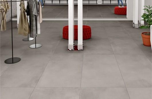 Pavimento in gres porcellanato linea CAEMENTUM grigio polvere