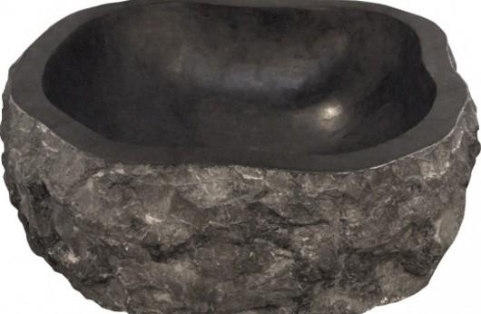 Lavabo pezzo unico in pietra naturale Astratto Nero