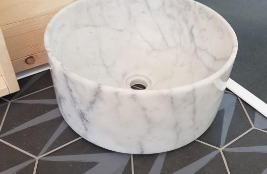 Lavabo Carrara bianco in Marmo Italiano