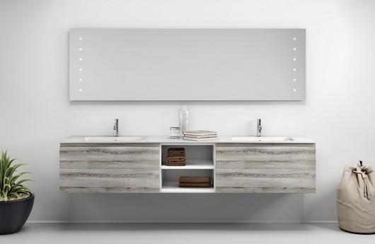 Composizione doppia Vasca e mobiletti rovere grigio con specchiera 230 cm. di larghezza