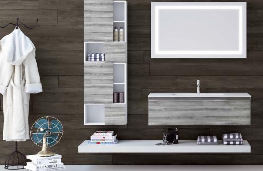Composizione Rovere Grigio base 120 cm. con lavabo integrato specchiera staffa e pensile