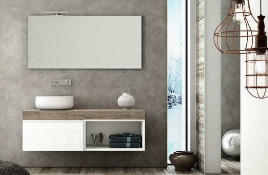 Composizione Top Rovere beige con Lavabo in ceramica e specchiera con luce Led
