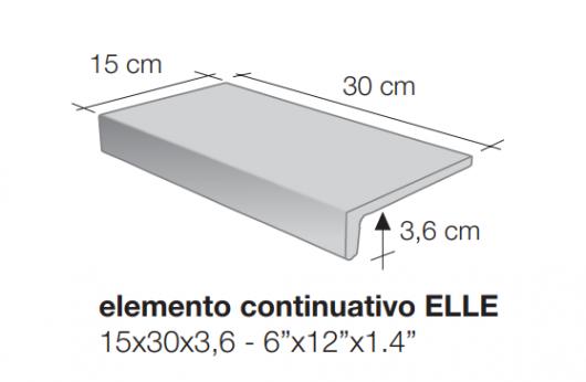 Elemento a elle monolitico Saxum Grigio 1°Scelta