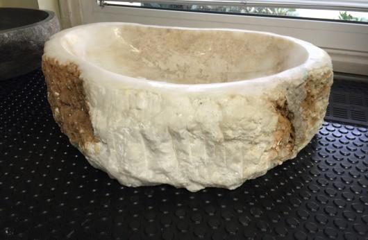 Lavabo pezzo unico in pietra naturale bianco