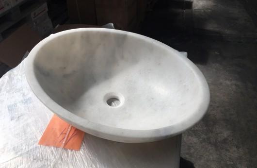 Lavabo in Marmo bianco ellittico