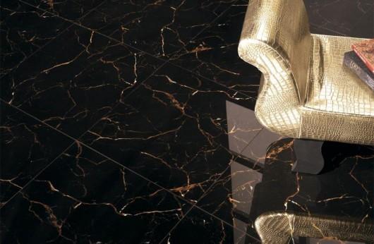 Gres levigato lucido Marmo Nero con venatura calda rettificato 1°Scelta
