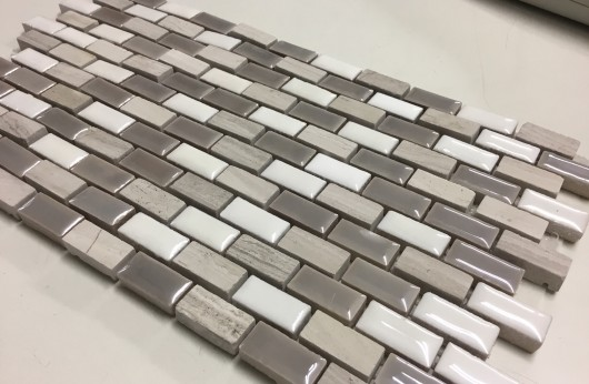 Mosaico Mini Brick Tortora perlato