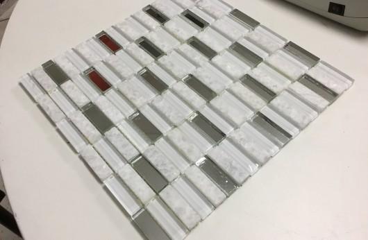 Mosaico rivestimento Brick Bianco marmo specchio