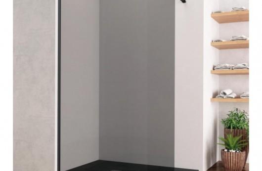 Parete Open Space con profilo nero satinato a muro cristallo grey 8mm