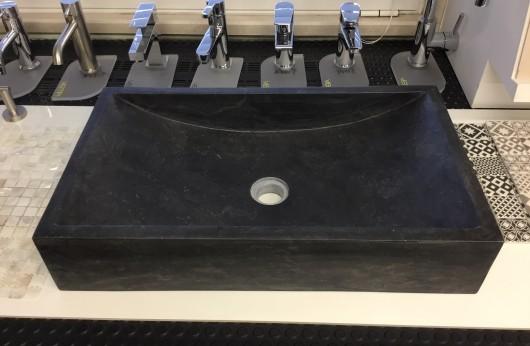 Lavabo Rettangolare Nero in Pietra naturale pezzo unico