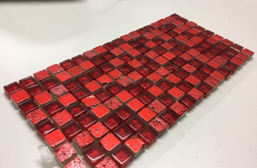 Mosaico Rosso linea foglia Oro 1,5x1,5