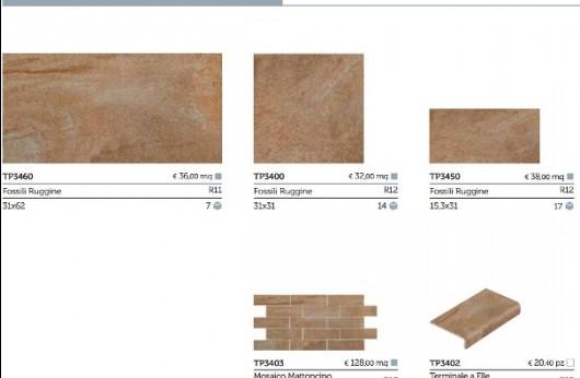 Pavimento in gres porcellanato per esterno Fossili Ruggine R12