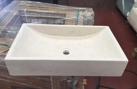 Lavabo Rettangolare Bianco in Pietra naturale pezzo unico