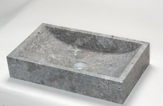 Lavabo Rettangolare Grigio in Pietra naturale pezzo unico