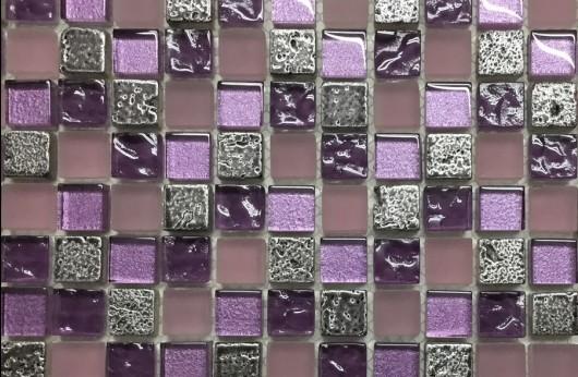 Mosaico Viola linea foglia Oro 1,5x1,5