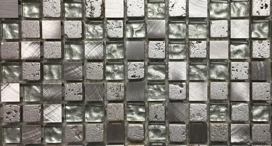 Mosaico Grigio linea foglia Oro 1,5x1,5
